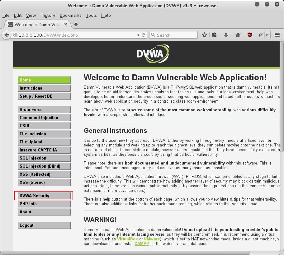 Damn Vulnerable Web Application