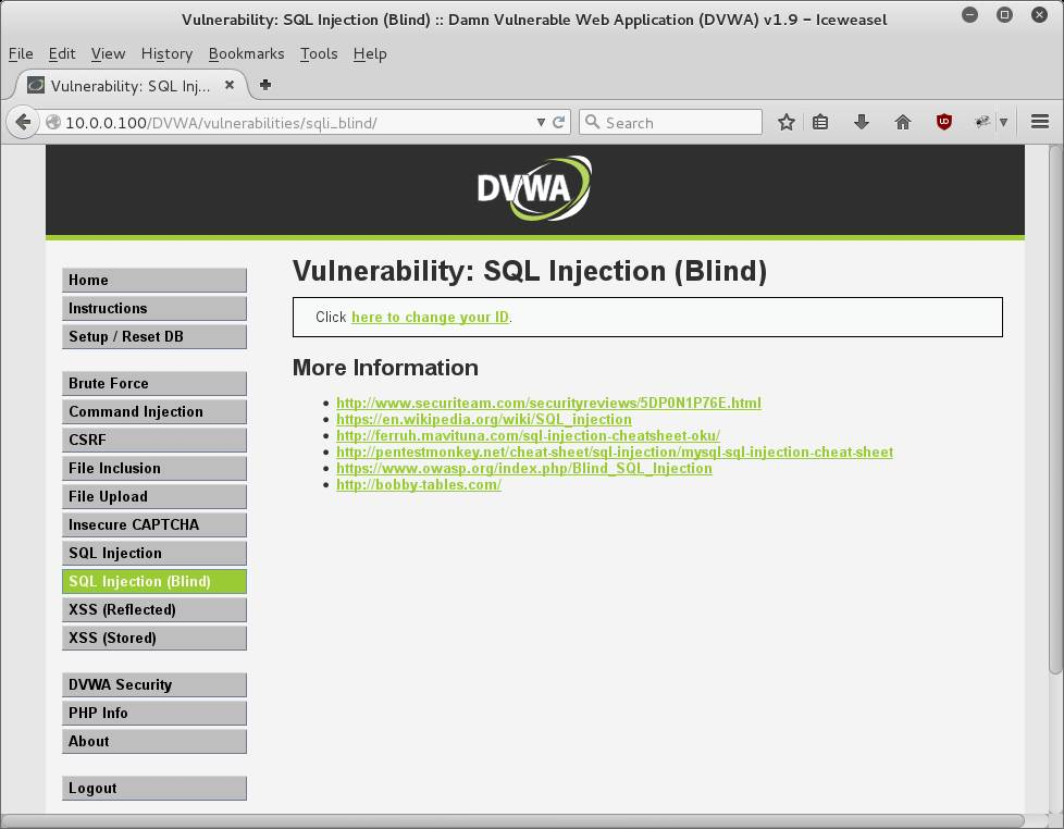 DVWA SQL Injection